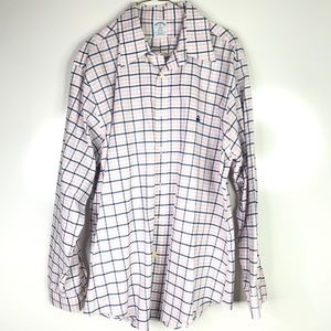 Brooks Brothers Blue Pink Plaid Button Down XL